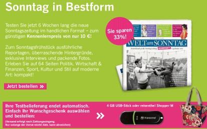 Testabo - Welt am Sonntag kompakt 6 Wochen für 10€ - selbstkündigend und mit Prämie