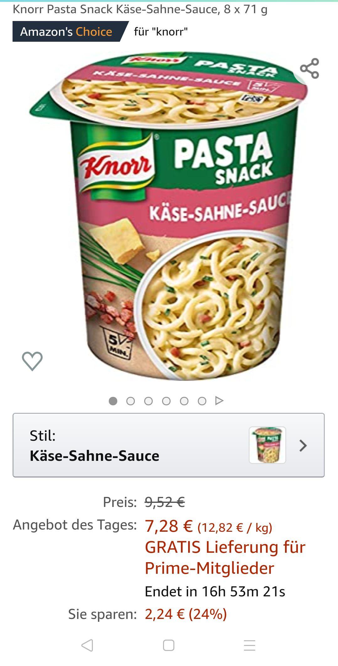 Knorr Pasta Snack Käse-Sahne-Sauce, 8x71g