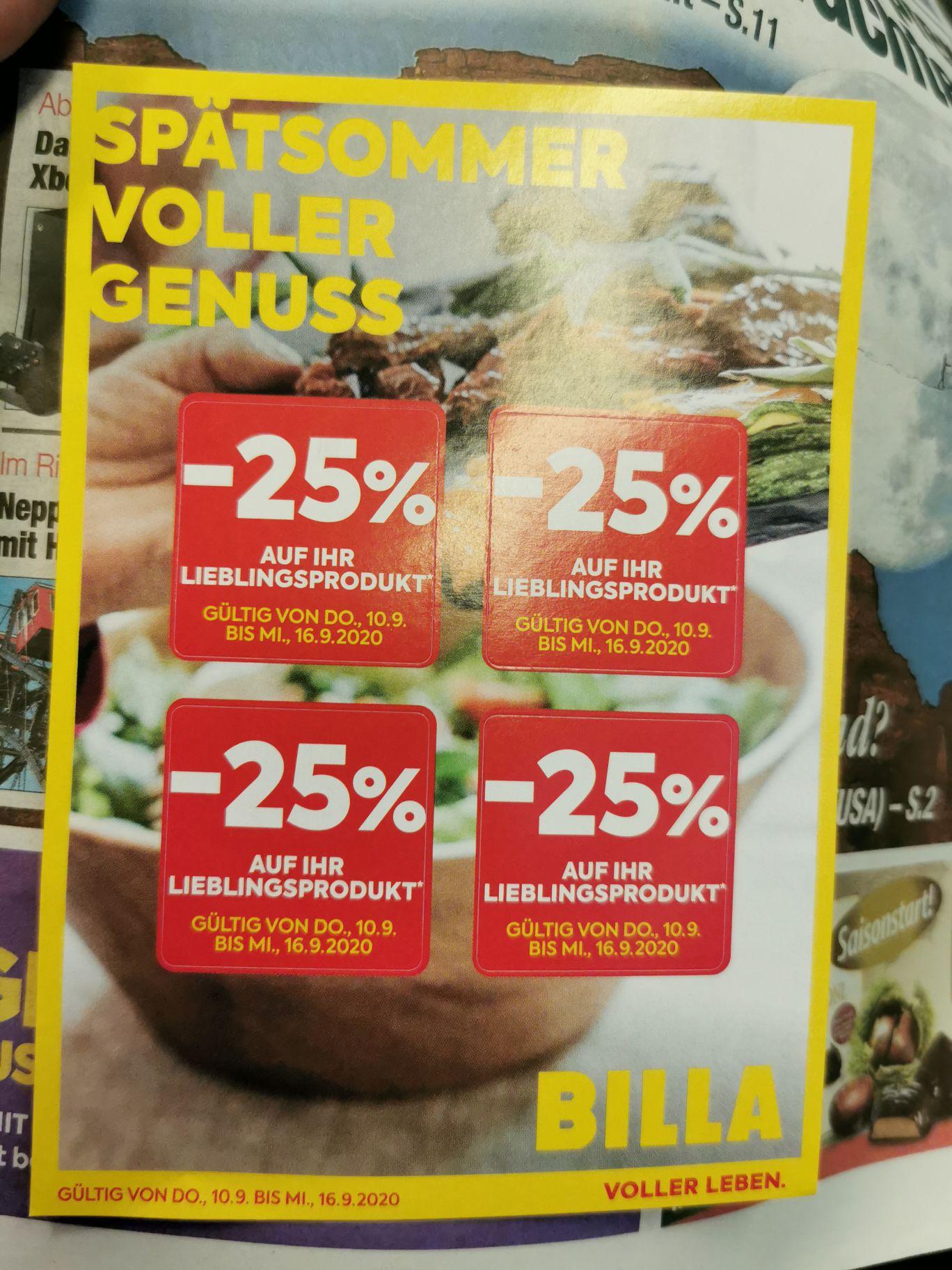 Nachtrag zum Spomi Flugblattdeal:Billa 4 Stk.- 25% Pickeln auf der heutigen Heute Zeitung