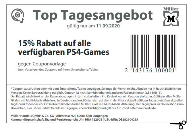 [Müller] Heute 15% Rabatt auf alle verfügbaren Playstation 4 Spiele