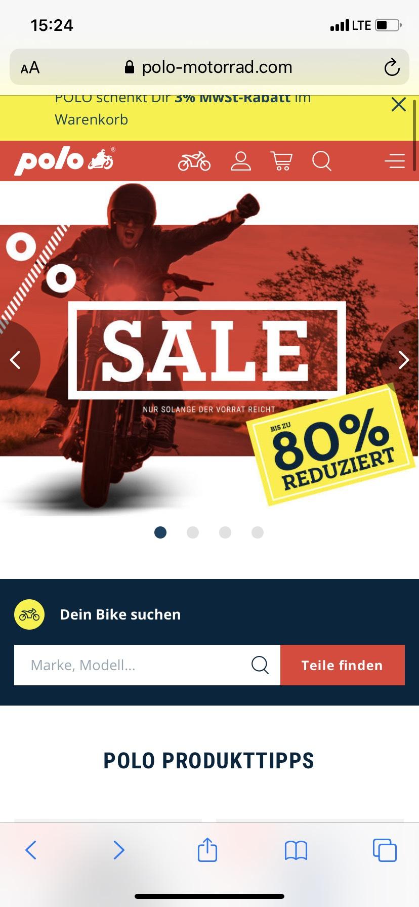 Polo-Motorrad: Bis zu 80% Rabatt + gratis Versand