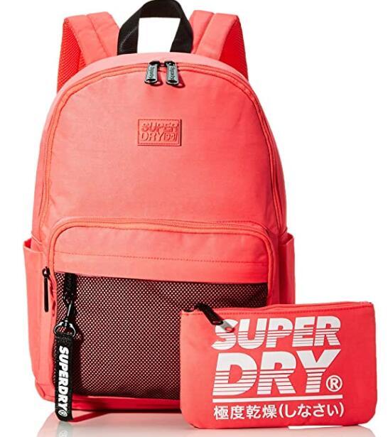Superdry Damen Mesh Pocket Backpack Rucksack, 35x20x45 cm plus Federmäppchen