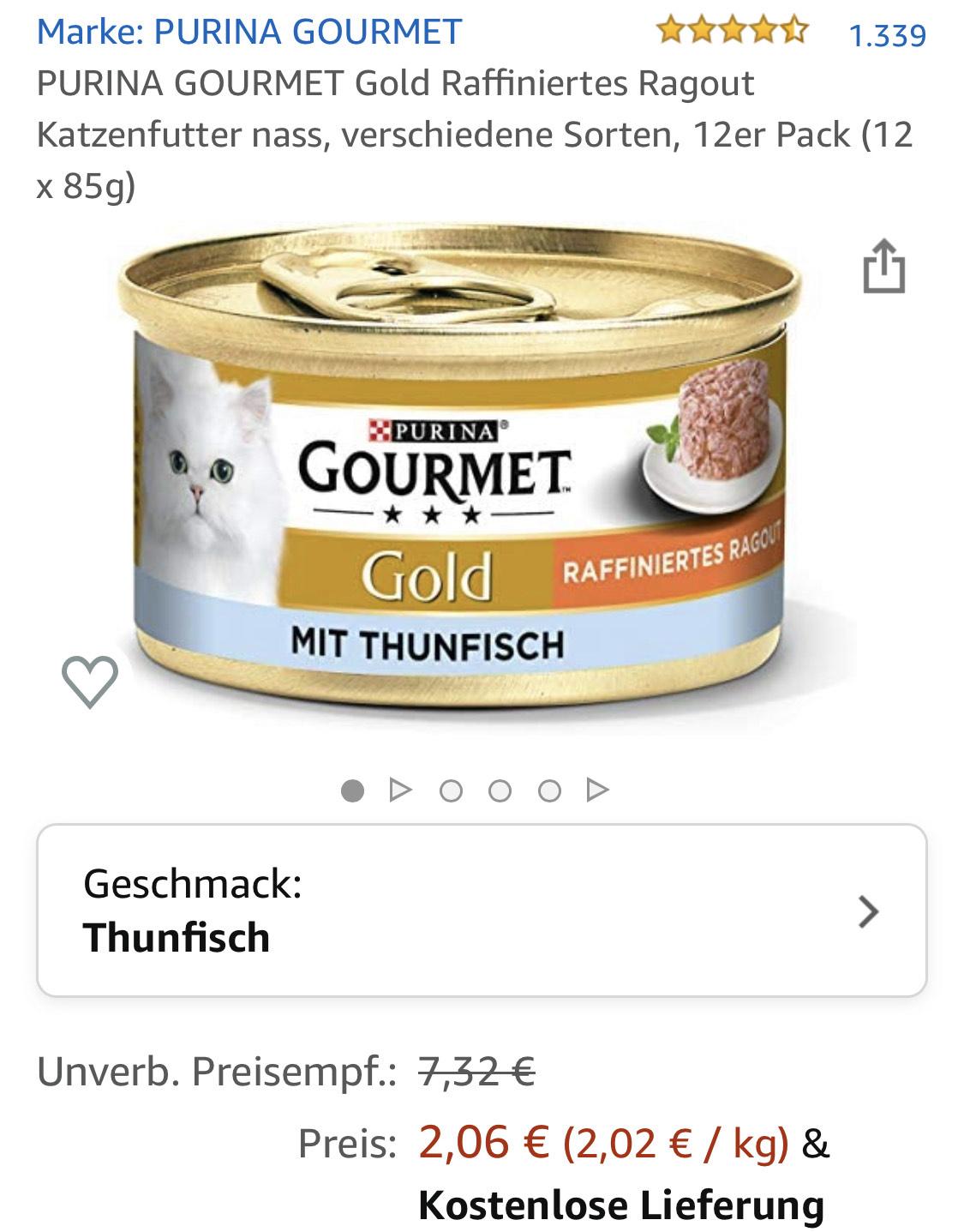 12x 85g Gourmet Katzenfutter für 2,06€