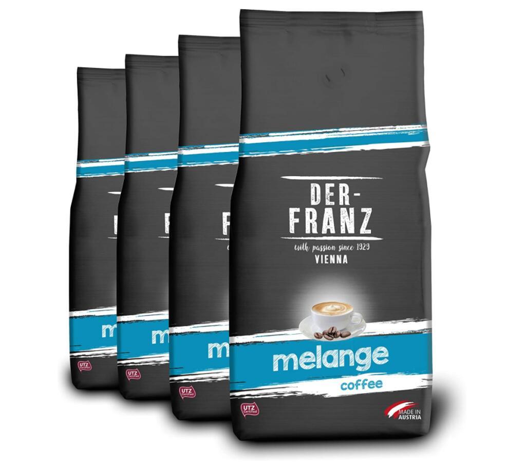 4x1kg Der Franz Melange-Kaffee, ganze Bohne