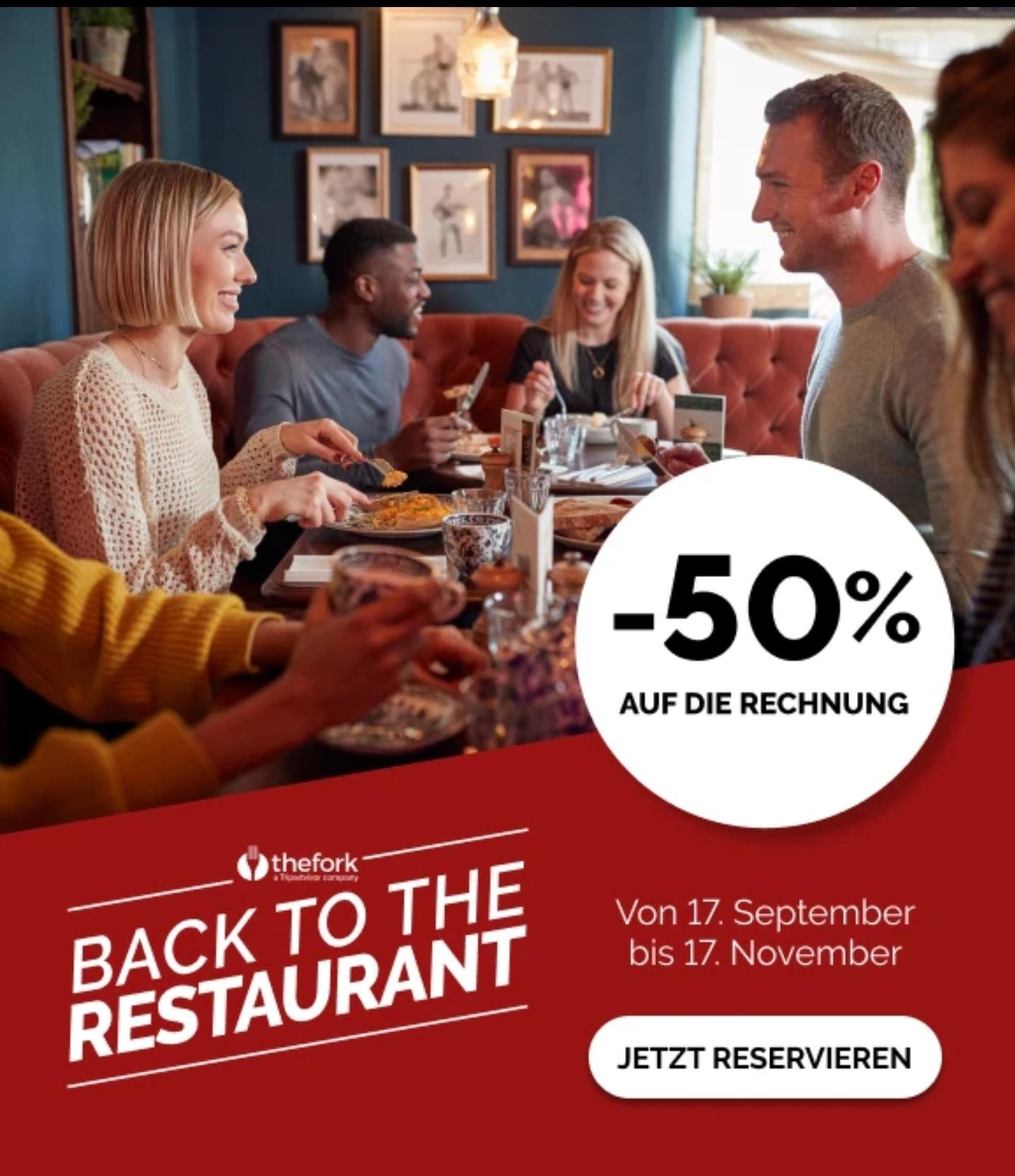 thefork.at mit Code APP20 derzeit 20 Euro Konsumations Gutschrift (1000 Yums) für deinen zweiten gebuchten Restaurantbesuch