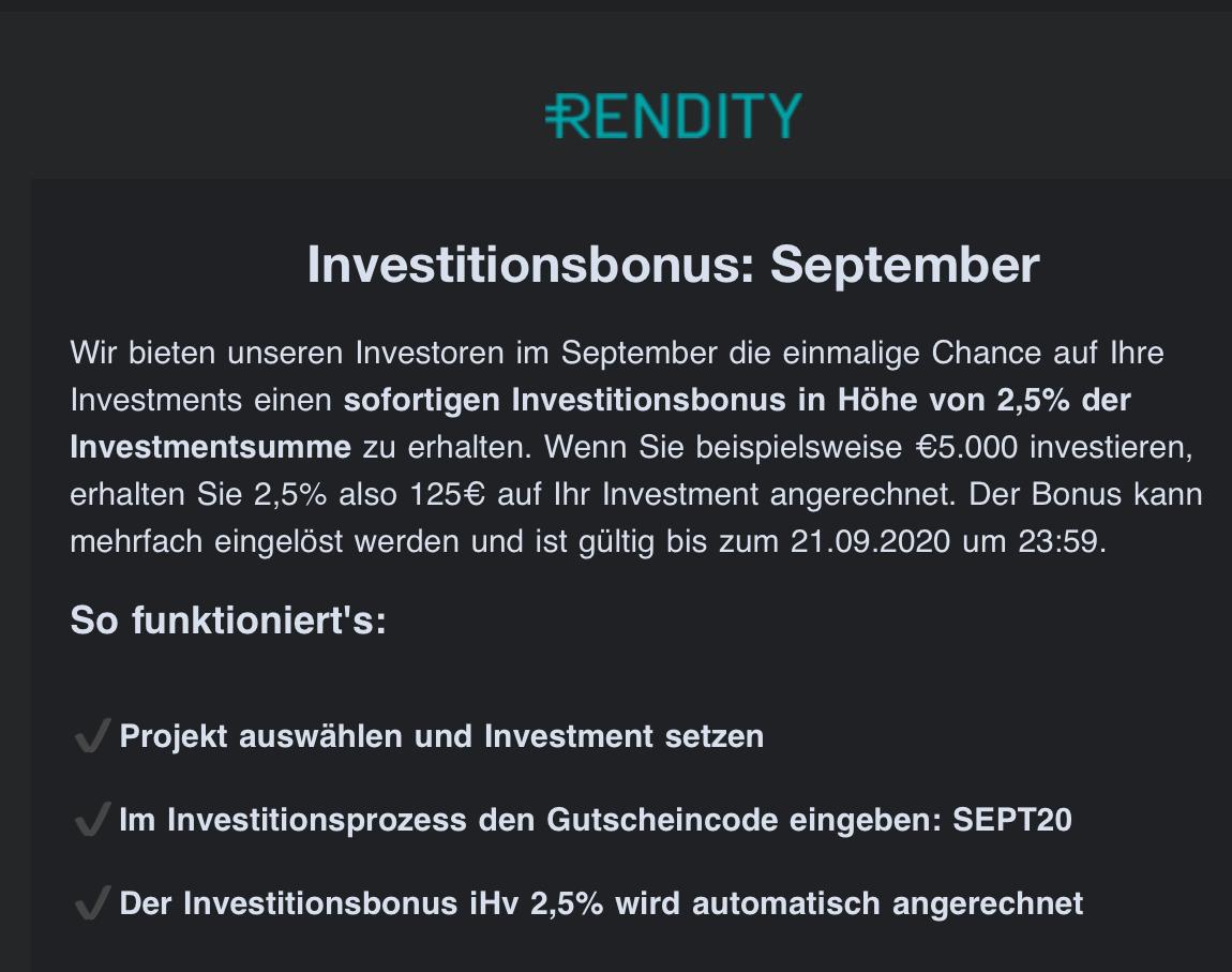 Investitionsbonus von 2,5% auf Immobilen Investments ab 500€ + 25 € Bonus