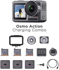 DJI Osmo Action-Cam - Digitale Actionkamera (2 Displays, 11m wasserdicht, 4K HDR-Video, 12MP, 145° Winkelobjektiv Kamera) Charging Combo Kit