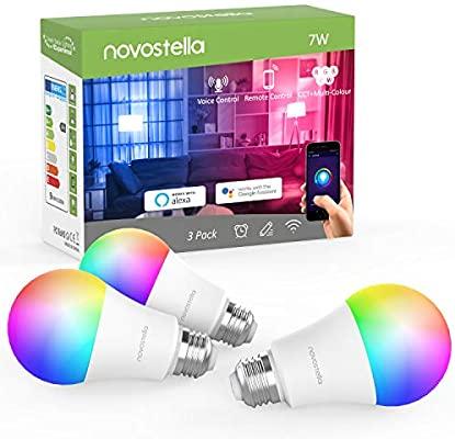 @Amazon Novostella 3er Pack E27 Smart Glühbirnen Dimmbar RGB, 7W LED mit Sprachsteuerungs Funktion