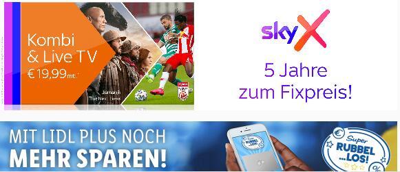 SkyX Kombi & Live TV für 19,99€ monatlich statt 34,99€ monatlich in der Lidl Plus App
