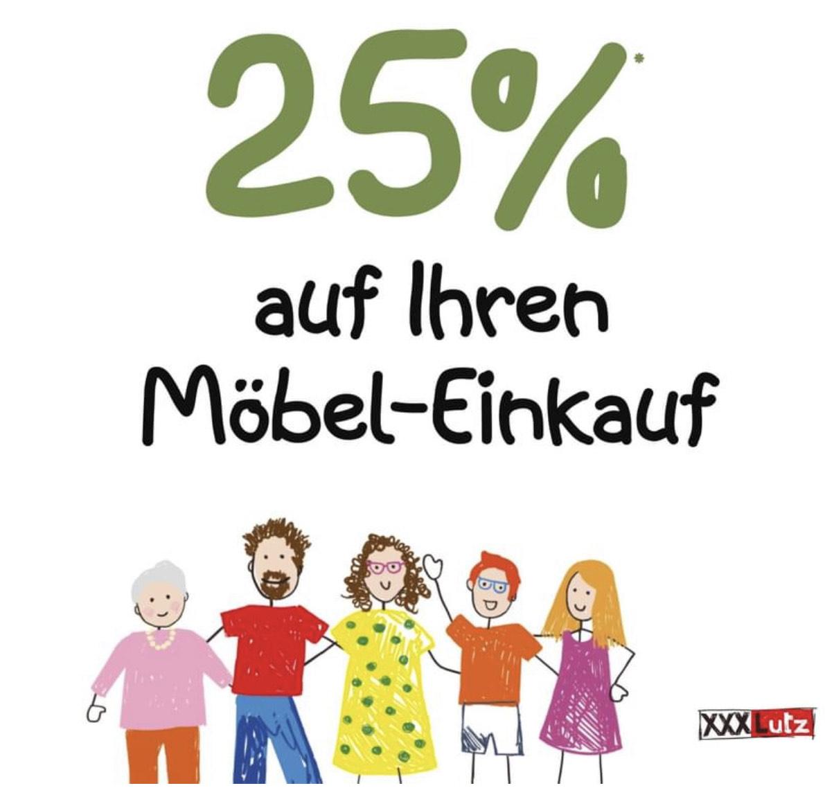 XXXLutz: 25% auf den Möbeleinkauf vom bisherigen Verkaufspreis