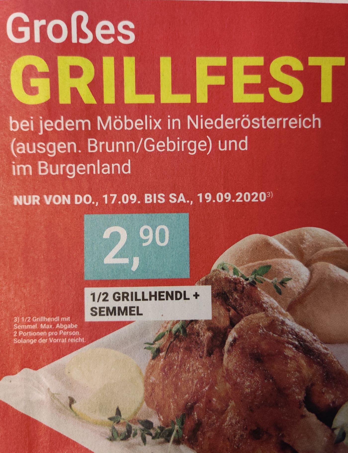 [Möbelix] 1/2 Grillhendl + Semmel um 2,90€