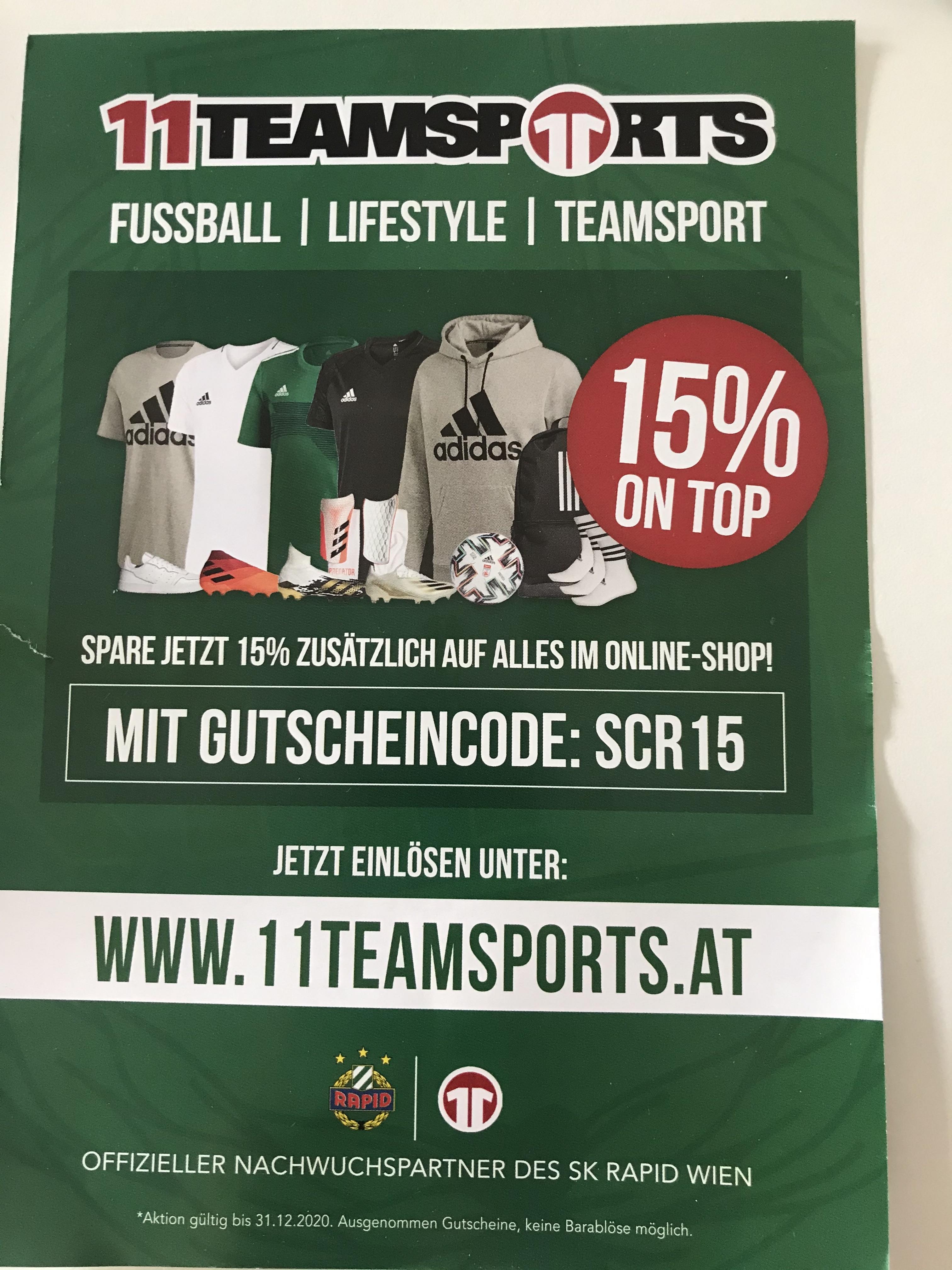 15% on Top auf alles bei 11teamsports