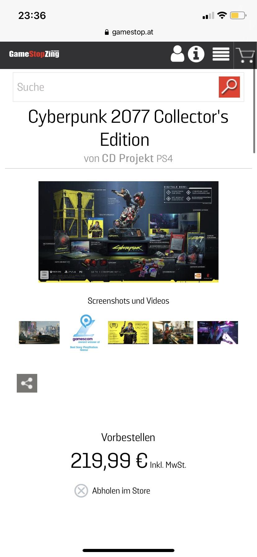 """Cyberpunk 2077 Die """"Collector's Edition"""" Vorbestellung bei Gamestop"""