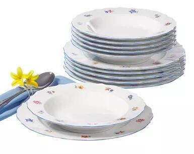 Seltmann Weiden - Tafelservice 12 teilig aus Porzellan, weiß mit Blütendekor (Made in Germany)