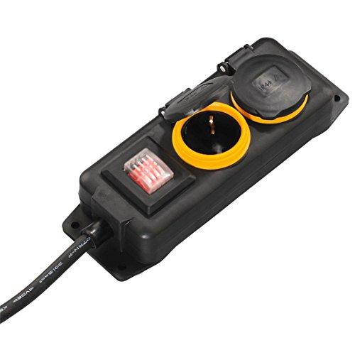 Hama Outdoor Steckdosenleiste mit Schalter, 2-fach, 2m mit Klappdeckel, spritzwassergeschützt nach IP44