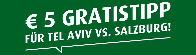 5€ Gratistipp bei Tipp3 für Maccabi Tel Aviv gegen RB Salzburg