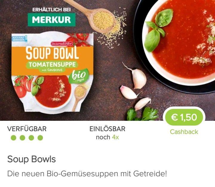 (25%Pickerl+Marktguru) Inzersdorfer Soup Bowl bei Merkur um 74cent