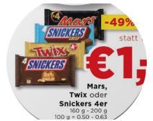 4x Mars/Snickers/Twix