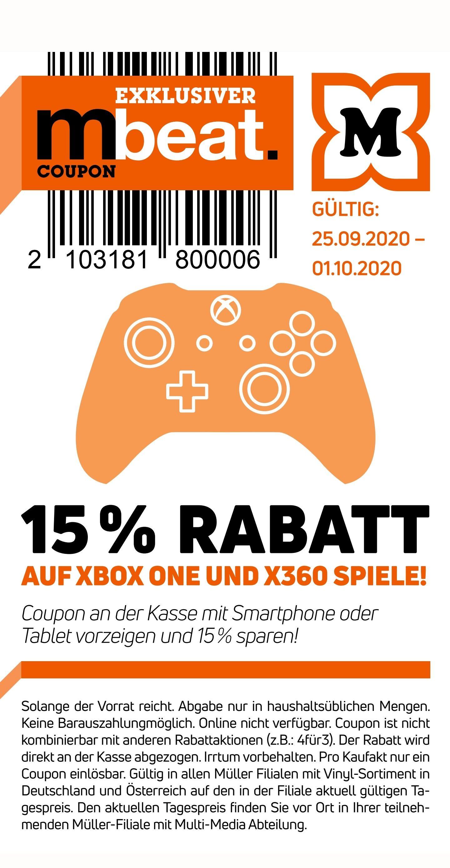 -15% auf alle Xbox one und Xbox 360 Spiele