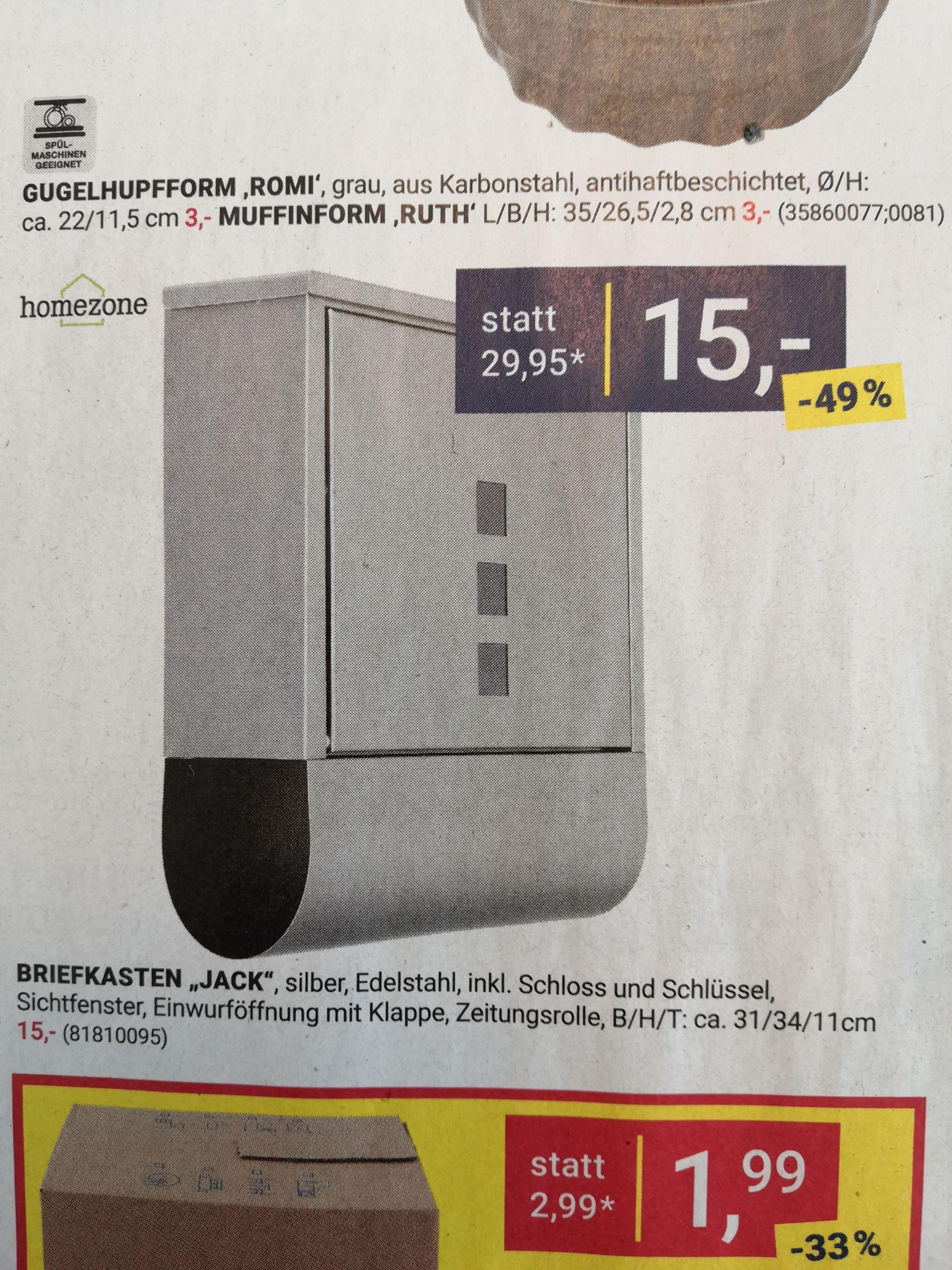 Möbelix: Edelstahl-Briefkasten mit Zeitungsrolle