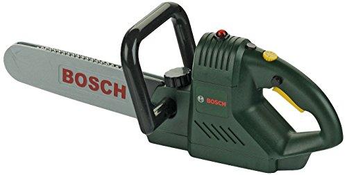 Theo Klein 8430 Bosch Kettensäge I Batteriebetriebene Spielzeugsäge mit realistischem Sägegeräusch und Blinklicht