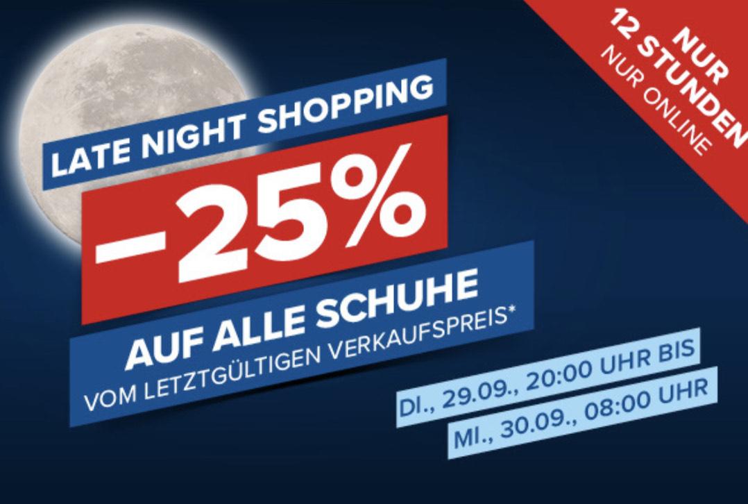 Hervis: 25% Rabatt auf alle Schuhe nur bis morgen 08:00