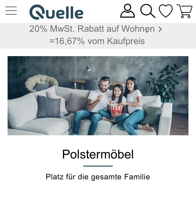 -16,67% MwSt bei Quelle auf Wohn Möbel.