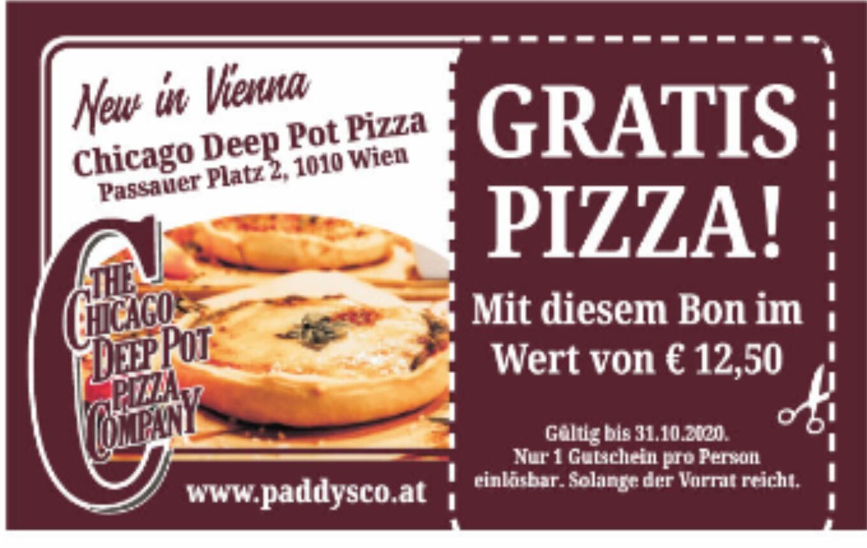 [Chicago Deep Pot Pizza Wien] Gutschein für eine GRATIS Pizza im Wert von 12,90€ in der HEUTE