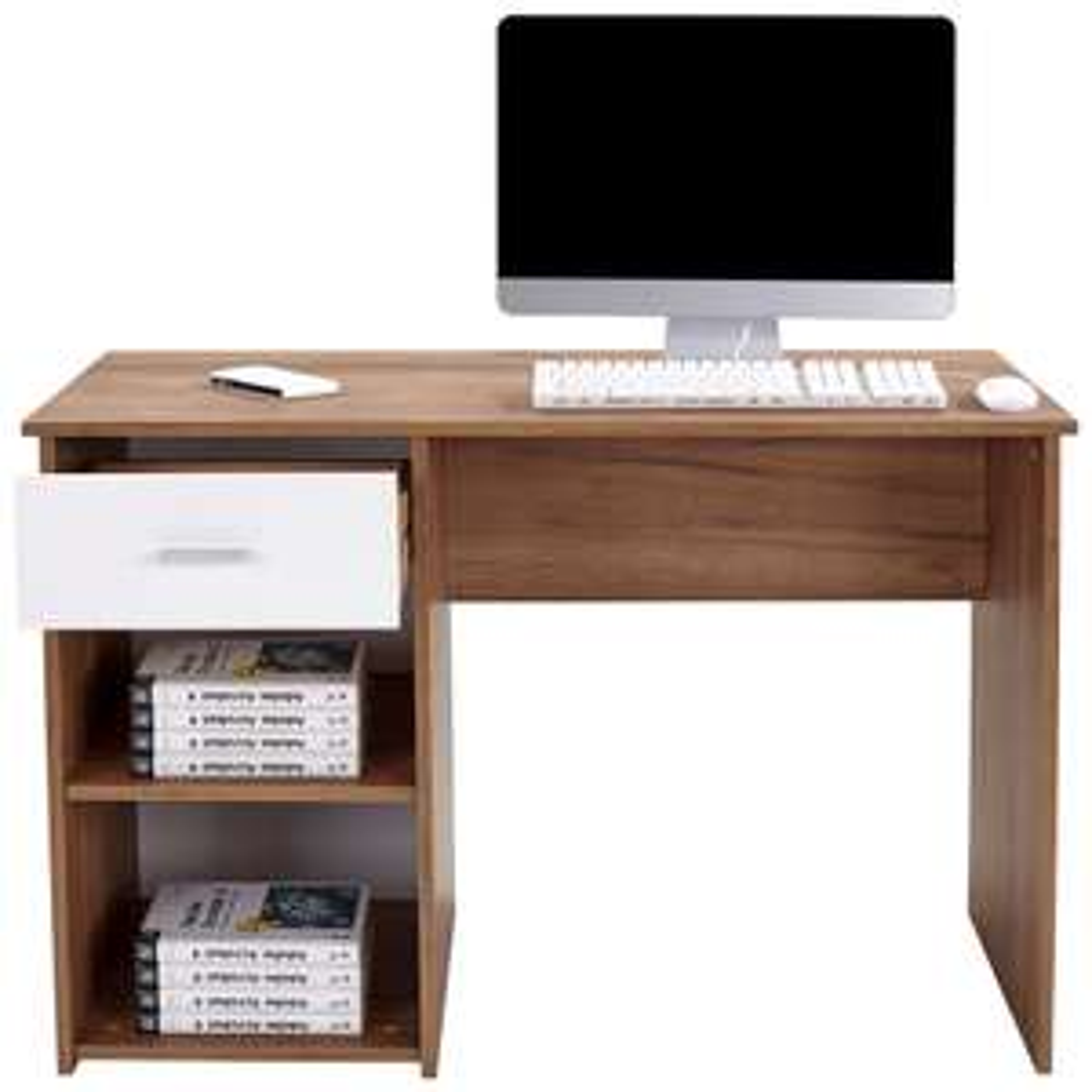 @Möbelix - Schreibtisch mit Stauraum und Lade - Kubek 2, Eiche braun/weiß