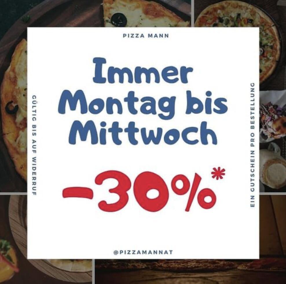 Pizzamann: 30% Rabatt auf alle Speisen von Montag - Mittwoch