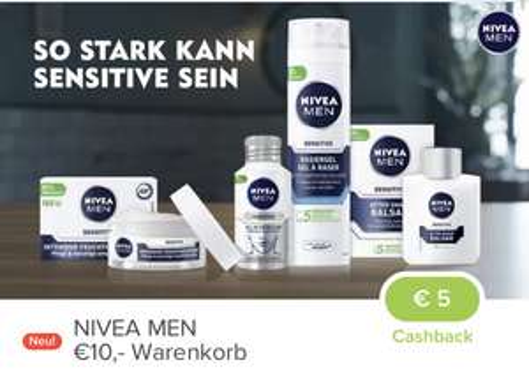 Marktguru-Cashback Nivea MEN: € 5,— (ab € 10 EKW) und € 10,— (ab € 20,— EKW)