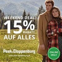 Peek & Cloppenburg: 15% Sofort Rabatt auf ALLES - ohne Mindesbestellwert + gratis Versand