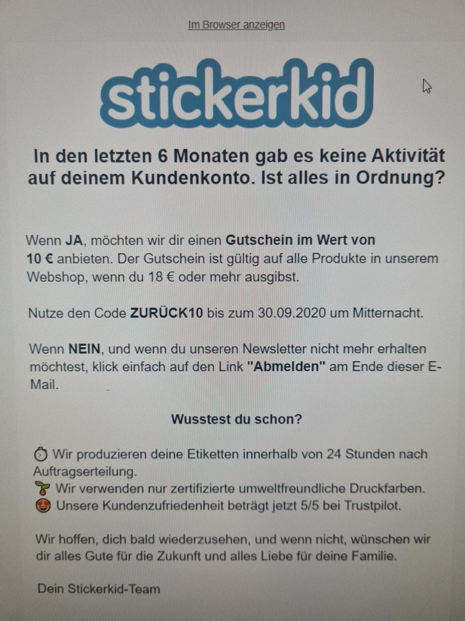 STICKERKID Gutschein - 10 €