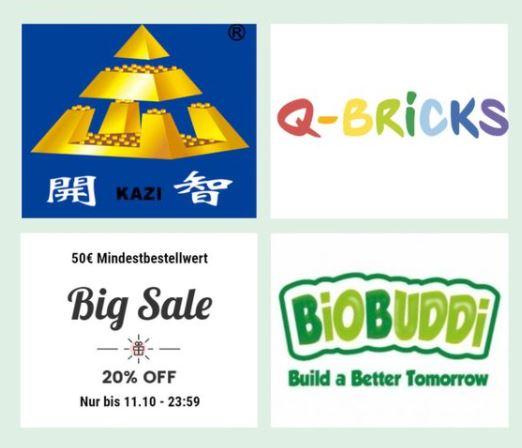 20% Rabatt auf Kazi, Q-Bricks und Biobuddi Bausteine