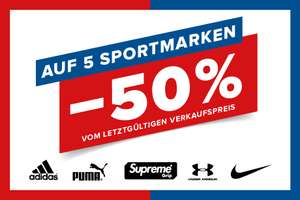-50% auf Adidas, Puma, Nike, Under Armour & Supreme Grip