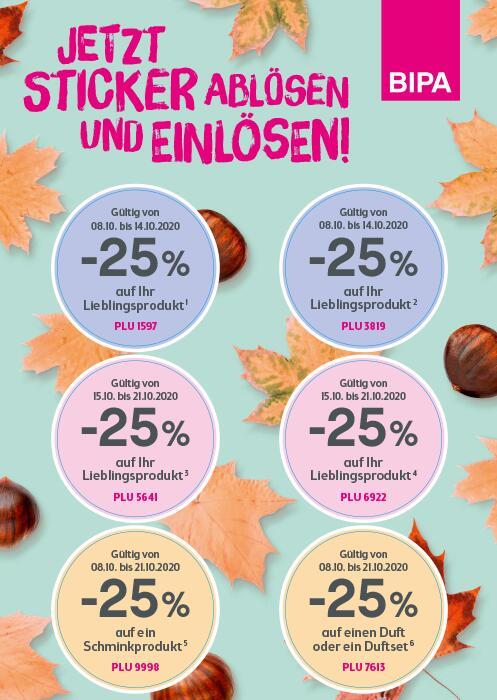 BIPA Rabatt Sticker -25% Lieblingsprodukt / Schminkprodukt/ Duft & Duftset (je nach Datum)