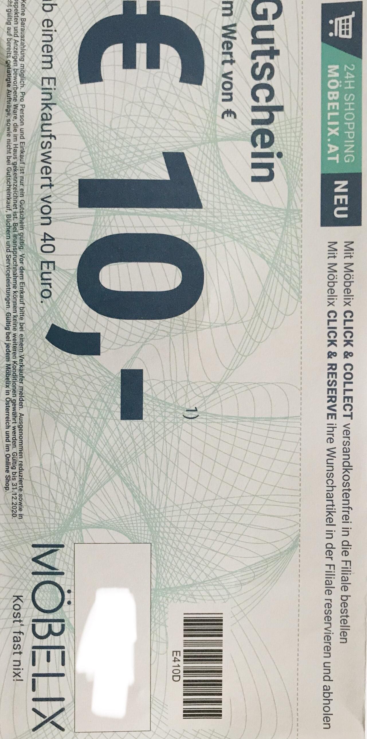 Möbelix € 10,- Gutschein ab Einkaufswert € 40,-