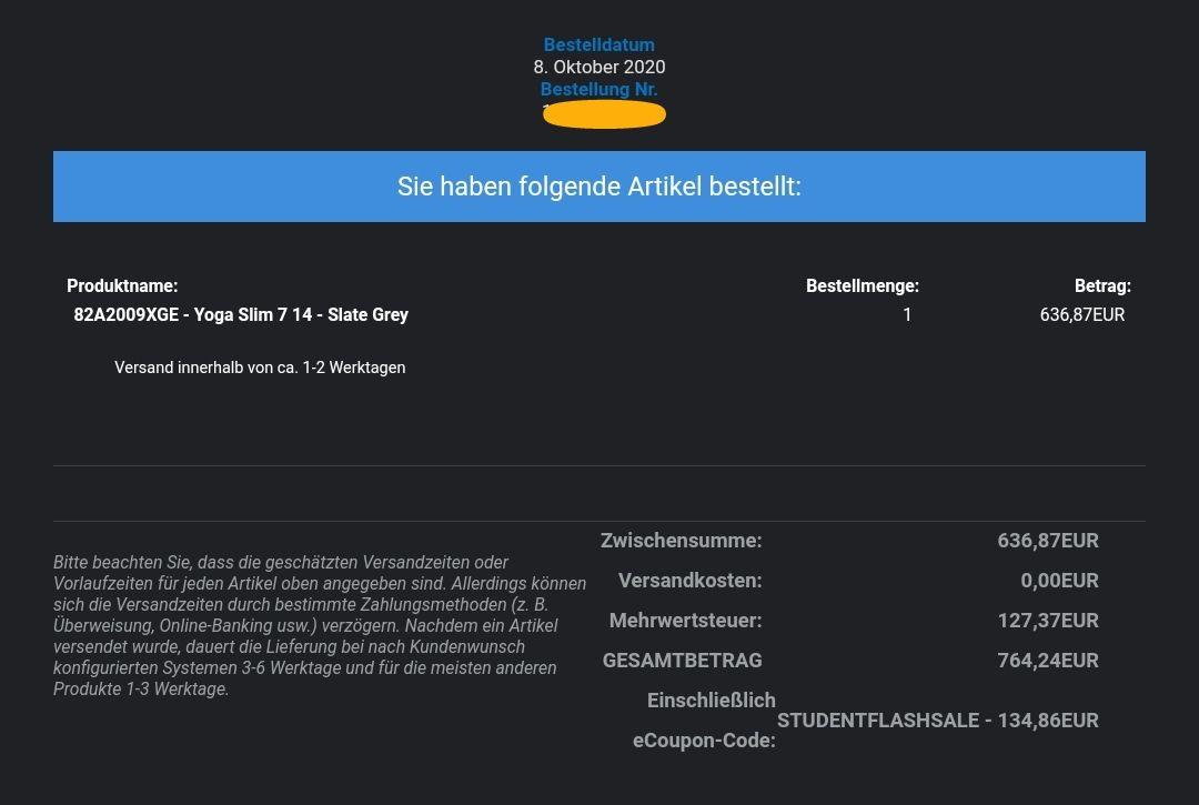 "Lenovo Yoga Slim 7 14"" Notebook - Ryzen 7 4800U, 16GB RAM, 512GB SSD - STUDENTEN"