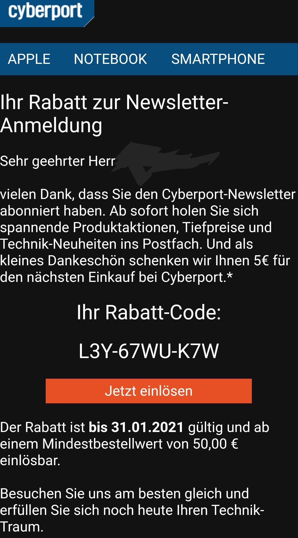 Cyberport 5€ Newsletter-Anmeldung abzug ab 50€ Einkauf.