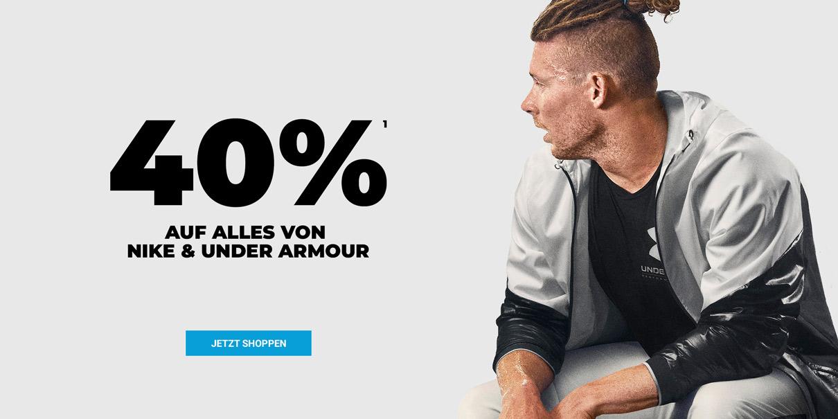 40% Rabatt auf alles von Nike und Under Amour