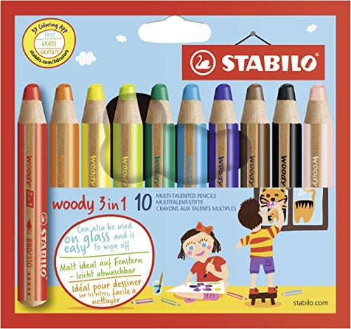 Preisjäger Junior: STABILO Woody Buntstift, Wasserfarbe & Wachsmalkreide - 10er Pack