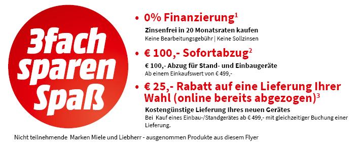 [Mediamarkt] 3-fach sparen auf Haushaltsgeräte ab 499€ (100€ Rabatt, 25€ Rabatt auf Lieferkosten und 0% Finanzierung)