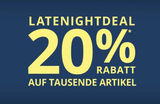 Peek & Cloppenburg: 20%Rabatt tausende Artikel, inklusive Sale + gratis Versand, nur von 20:00 - 09 Uhr