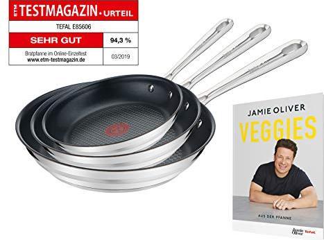 Tefal Jamie Oliver Pfannen-Set, 3-tlg. Brushed, geeignet für alle Herdarten