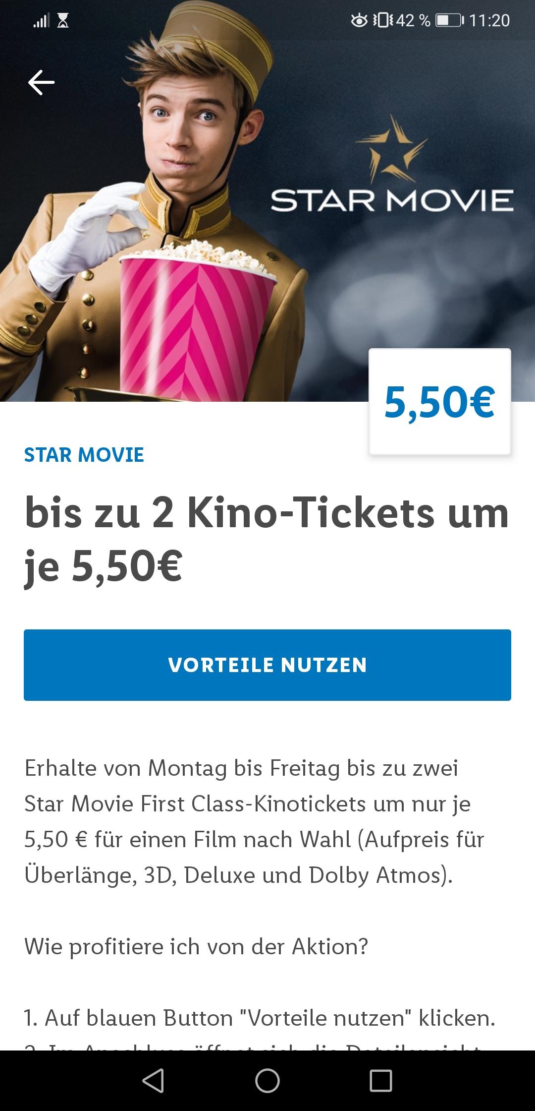 Mo-Fr: Bis zu zwei Kinotickets um je 5,50€ bei Star Movie mit der Lidl Plus App