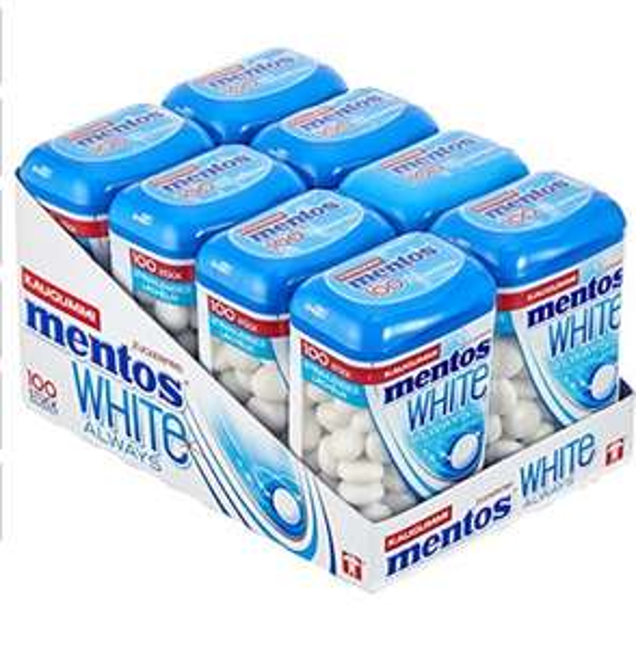 Mentos White Kaugummi, 8 Dosen à 100 Stück im Multipack
