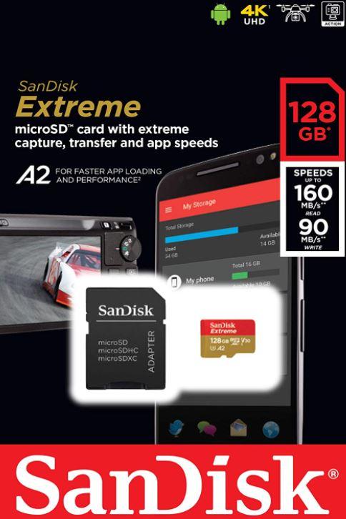 SanDisk Extreme microSDXC UHS-I Speicherkarte 128 GB + Adapter & Rescue Pro Deluxe