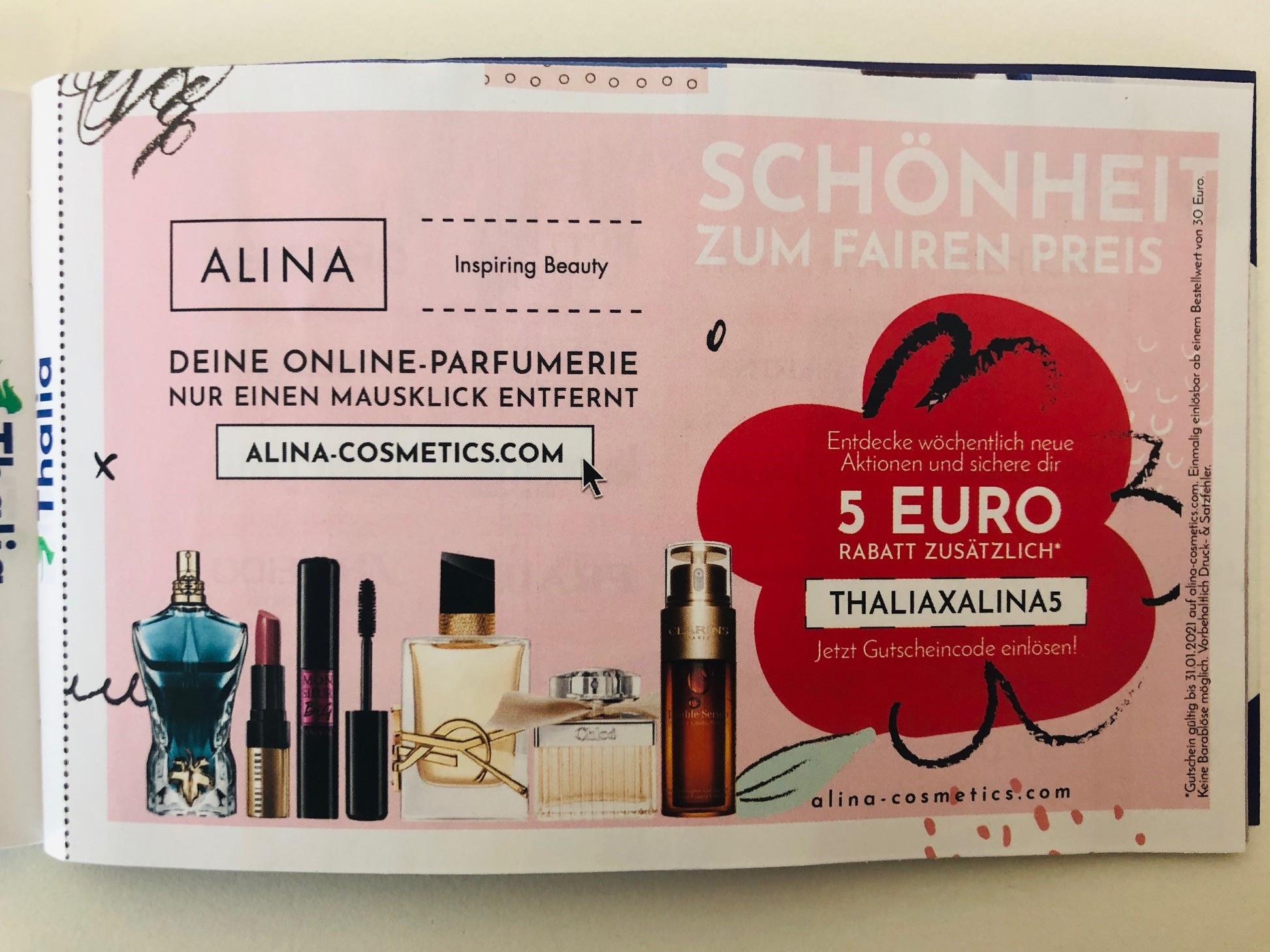 5€ Rabatt bei ALINA Cosmetics