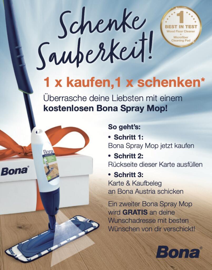1+1 Gratis Bona Spray Mop für geölte, Holz oder Stein-. Fliesen- und Laminatböden