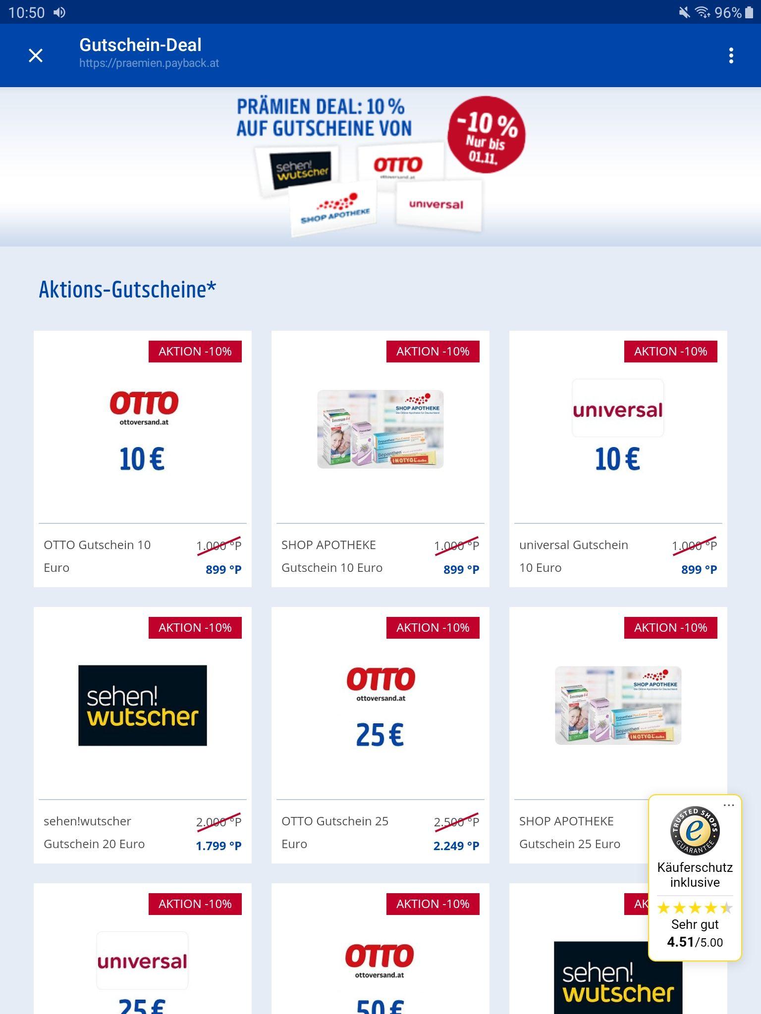 PAYBACK-Shop: Geschenk-Gutscheine -10% (Otto, Universal, Shop-Apotheke u. Wutscher)